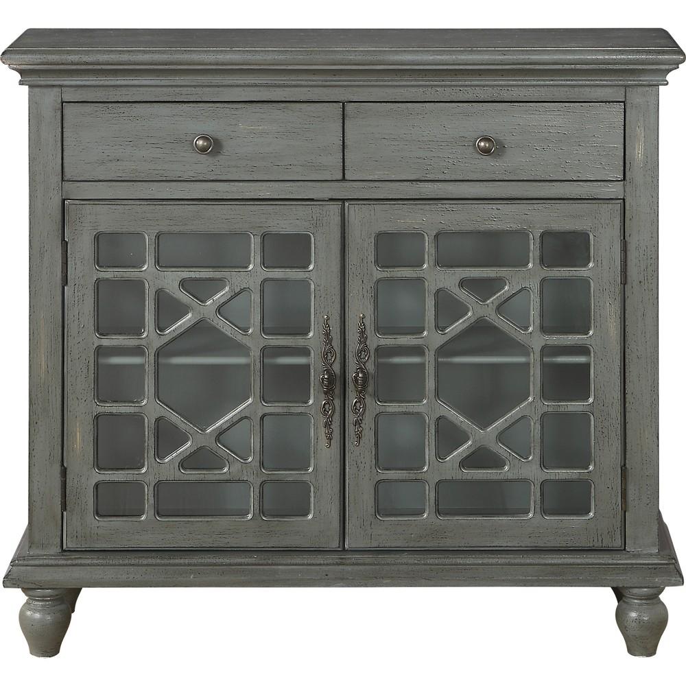 Cimmeron 2 Drawer 2 Door Cupboard Gray - Treasure Trove