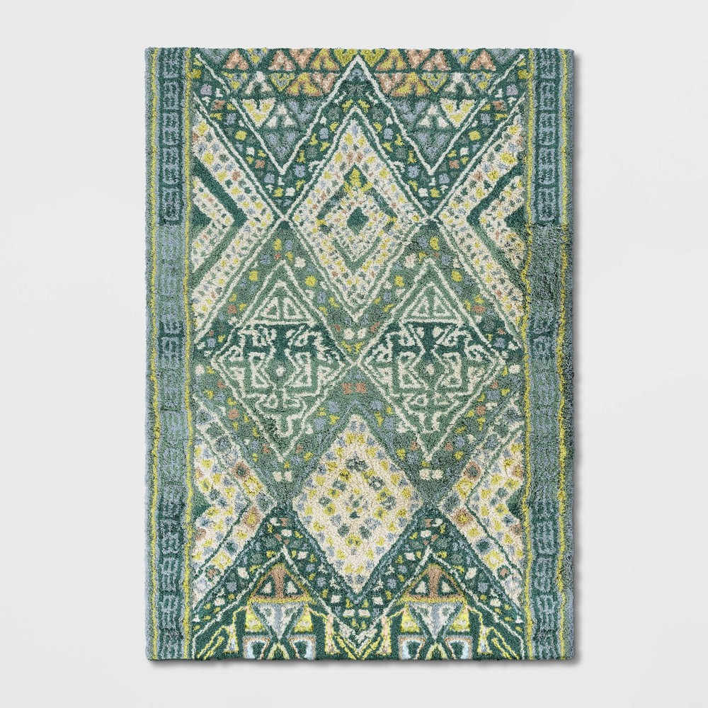 7'X10' Coreopsis Diamond Tufted Area Rug Turquoise - Opalhouse was $399.99 now $199.99 (50.0% off)