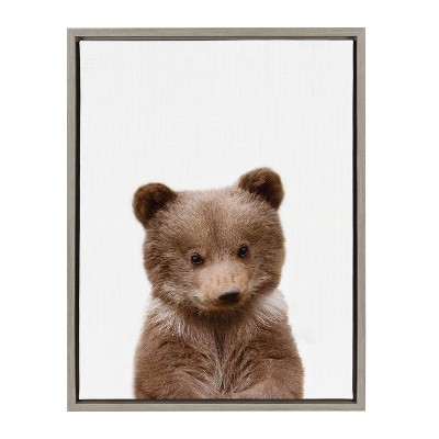 Kate & Laurel 24 x18  Sylvie Baby Bear Animal Print Portrait By Amy Peterson Framed Wall Canvas Gray