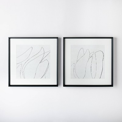 "(Set of 2)24"" x 24"" Sketch Art Print Black/White - Threshold™ designed with Studio McGee"