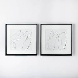 "(Set of 2) 24"" x 24"" Sketch Art Print Black/White - Threshold™ designed with Studio McGee"