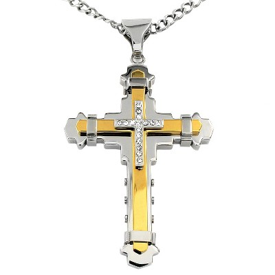 Crucible Men's Cubic Zirconia Two-tone Stainless Steel Multi-layer Cross Necklace