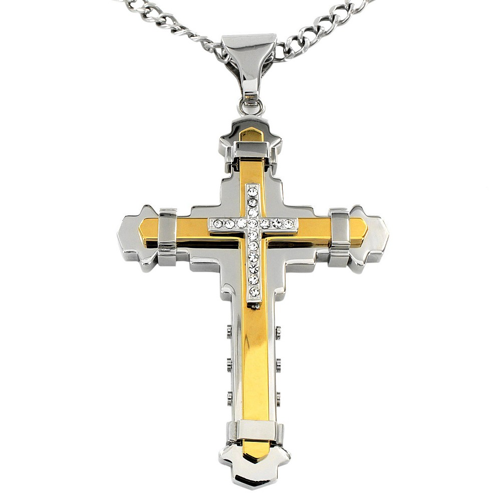 Image of Crucible Men's Cubic Zirconia Two-tone Stainless Steel Multi-layer Cross Necklace, Size: Small, Silver/Silver