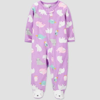 Baby Girls' Winter Friends Fleece Sleep N' Play - Just One You® made by carter's Purple 9M