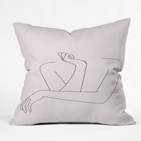 The Colour Study Women's Crossed Arms Figures Square Throw Pillow Pink - Deny Designs - image 1 of 2