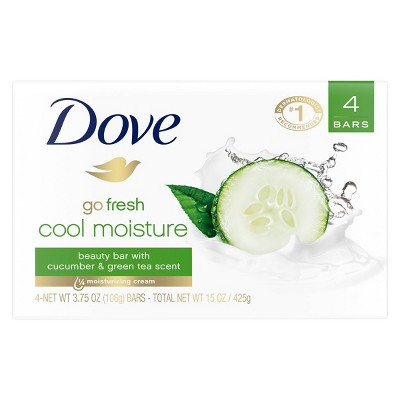 Dove Cool Moisture Beauty Bar Soap Cucumber and Green Tea - 4pk - 3.75oz each