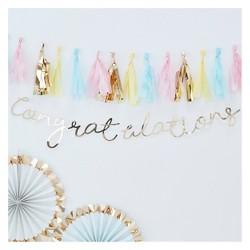 """Congratulations"" Party Backdrop Gold"