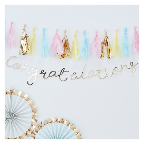 """""""Congratulations"""" Party Backdrop Gold - image 1 of 3"""