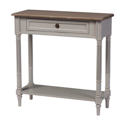Edouard French Provincial Style Console Table with 1 Drawer - White/Light Brown - Baxton Studio