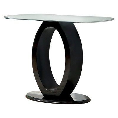 Ozzy High Gloss Oval Glass Top Sofa Table Black - HOMES: Inside + Out