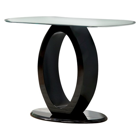 Ozzy High Gloss Oval Glass Top Sofa Table Black - HOMES: Inside + Out - image 1 of 3