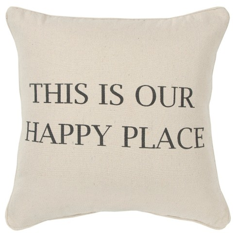 Sentiment Decorative Filled Oversize Square Throw Pillow Neutral - Rizzy Home - image 1 of 4