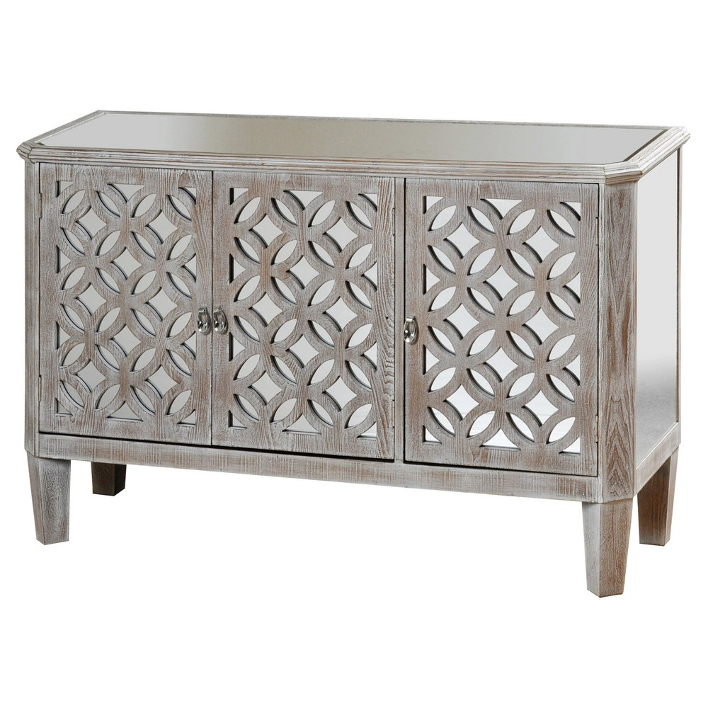 Distressed Wood Dresser with Mirrored Accents and Three Doors Flanked By Filigree - Grey - Stylecraft