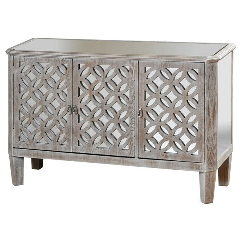 Distressed Wood Dresser With Mirrored Accents And Three