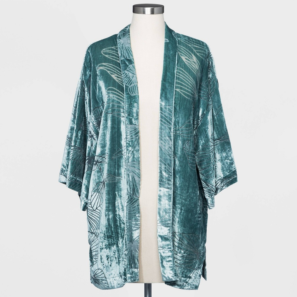 1920s Coats, Flapper Coats, 20s Jackets Womens Floral Print Velvet Burnout Kimono Jacket - A New Day Navy One Size Blue $28.00 AT vintagedancer.com