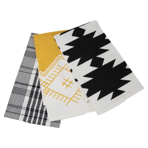 Set Of 3 Plaid And Abstract Pattern 27 X 18 Inch Woven Kitchen Tea Towels Foreside Home Garden Target