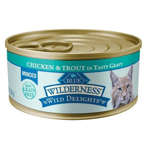 Blue Buffalo Wilderness 100% Grain-Free Wild Delights Chicken & Trout In Tasty Gravy Minced Wet Cat Food - 5.5oz - image 1 of 1