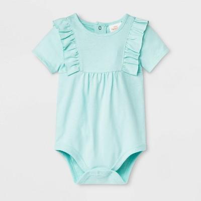 Baby Girls' Short Sleeve Ruffle Bodysuit - Cat & Jack™ Aqua Newborn