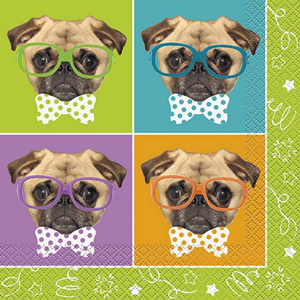 Image of 16ct Pug Puppy Birthday Lunch Napkins