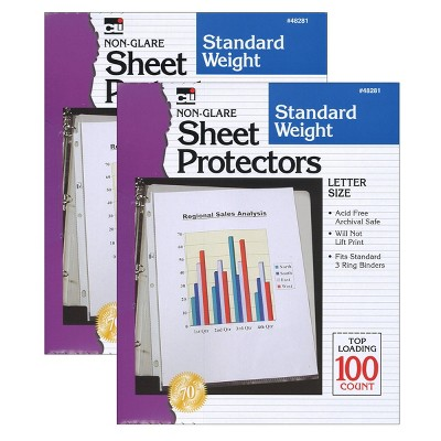 200ct Letter Size Non-Glare Sheet Protectors - Charles Leonard