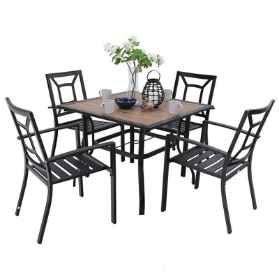 5pc Patio Table & Metal Chairs with Square Design - Captiva Designs