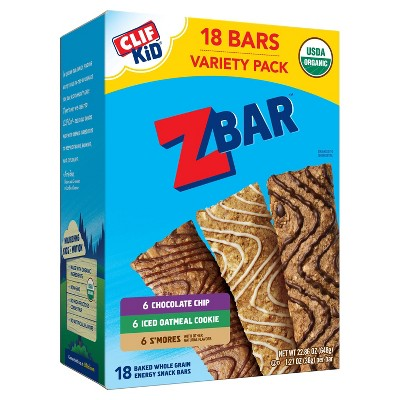 Zbar Chocolate Chip, Iced Oatmeal Cookie, and S'mores Snack Bars - 18pk