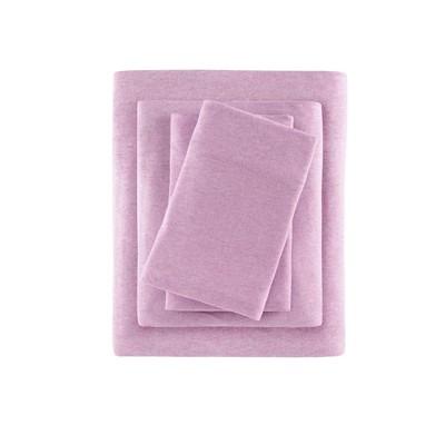 Heathered Cotton Jersey Knit Sheet Set Twin Extra Long Purple