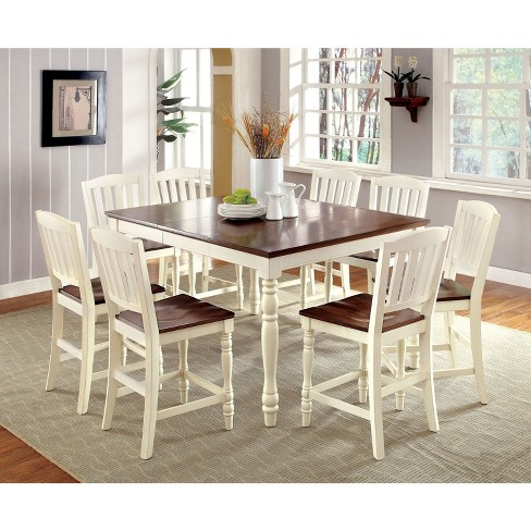 Sun Pine Cottage Style Counter Dining Table Wood Vintage White And Dark Oak Target