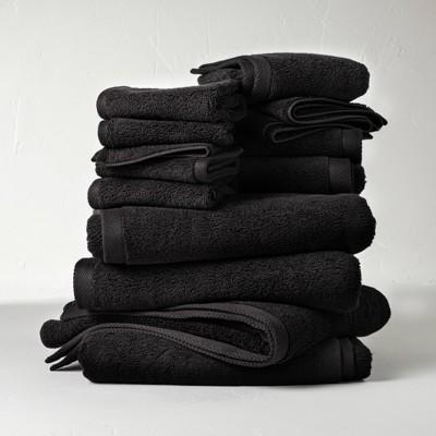 12pc Organic Bath Towel Set Black - Casaluna™