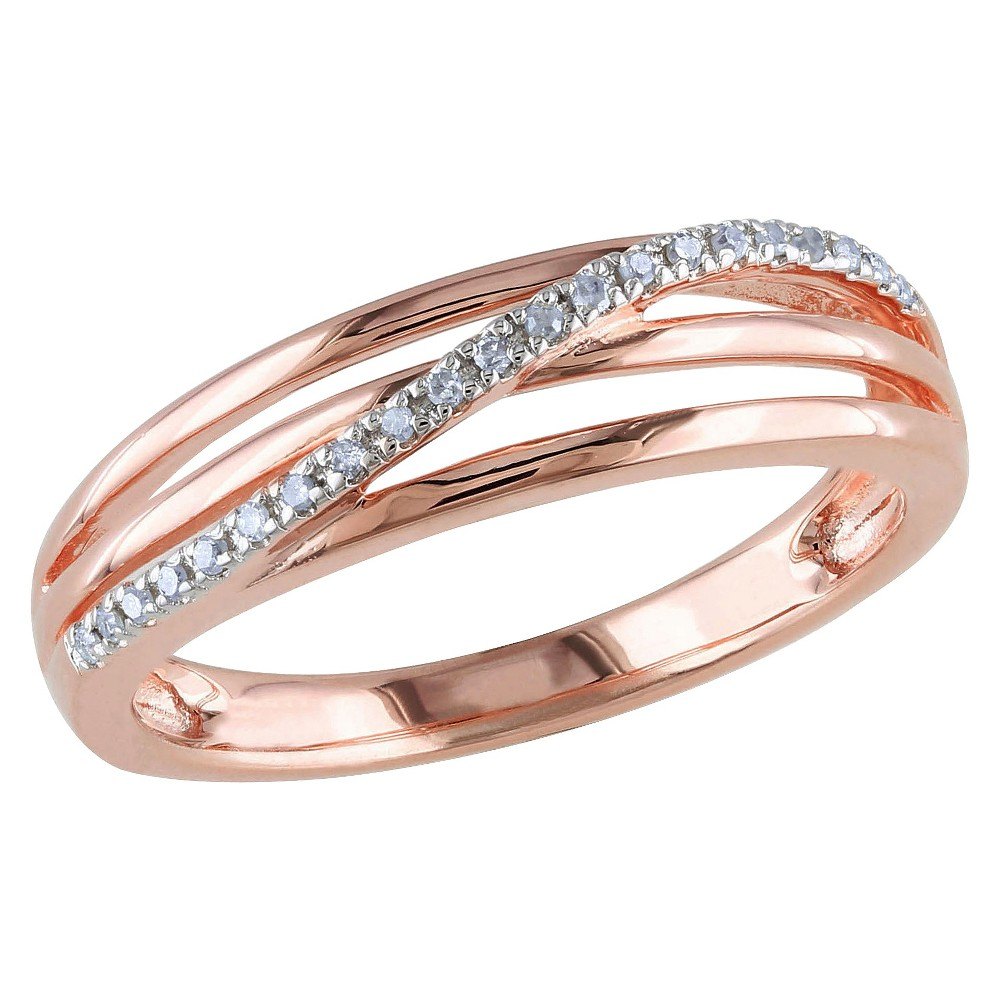 0.06 CT. T.W. Diamond Ring in Pink Rhodium Plated Sterling Silver - I3 - 5 - White