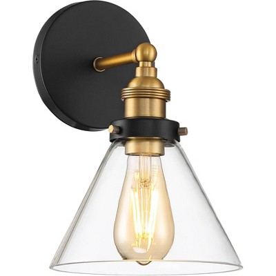"""360 Lighting Burke 10 3/4"""" High Black and Brass LED Wall Sconce"""