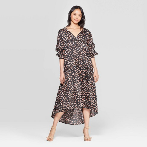 Women's Leopard Print 3/4 Sleeve V-Neck Tiered Tent Dress - Who What Wear™ Black - image 1 of 3