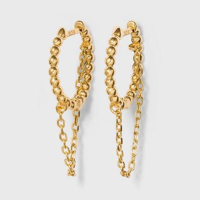 SUGARFIX by BaubleBar 14K Gold Plated Delicate Chain Huggie Hoop Earrings - Gold