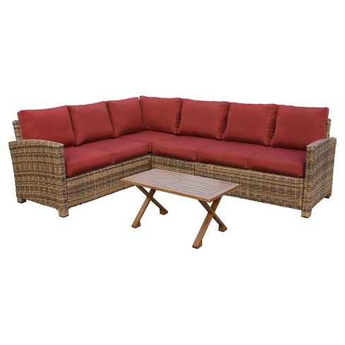 Dalton 5pc All-Weather Wicker Patio Corner Sectional Set - Leisure Made - image 1 of 2