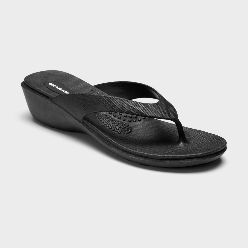 Women 39 S Splash Sustainable Wedge Flip Flop Sandals Okabashi Black M 6 5 7 5