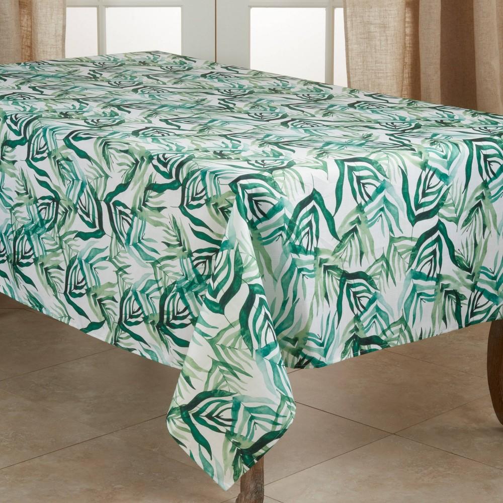 "90"" X 65"" Polyester Tropical Rainforest Tablecloth Green Saro Lifestyle"
