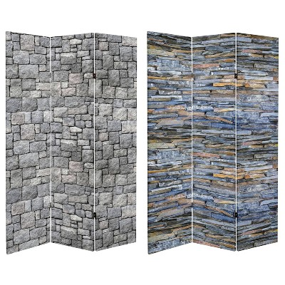 """6"""" Double Sided Medieval Stone Canvas Room Divider Gray - Oriental Furniture"""