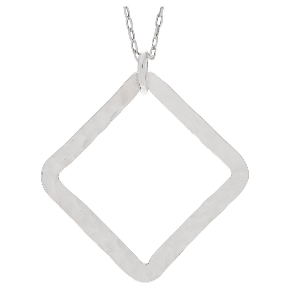 Women's Journee Collection Hammered Square Pendant Necklace in Sterling Silver - Silver (18)