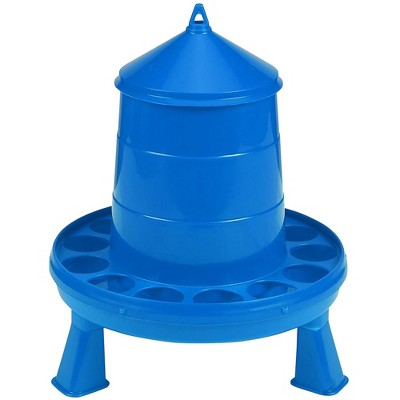 Little Giant 4 Pound Poultry Chicken or Bird Feeder Dispenser Container with Feed Saver Ring, Carrying Handle, and Legs, Blue
