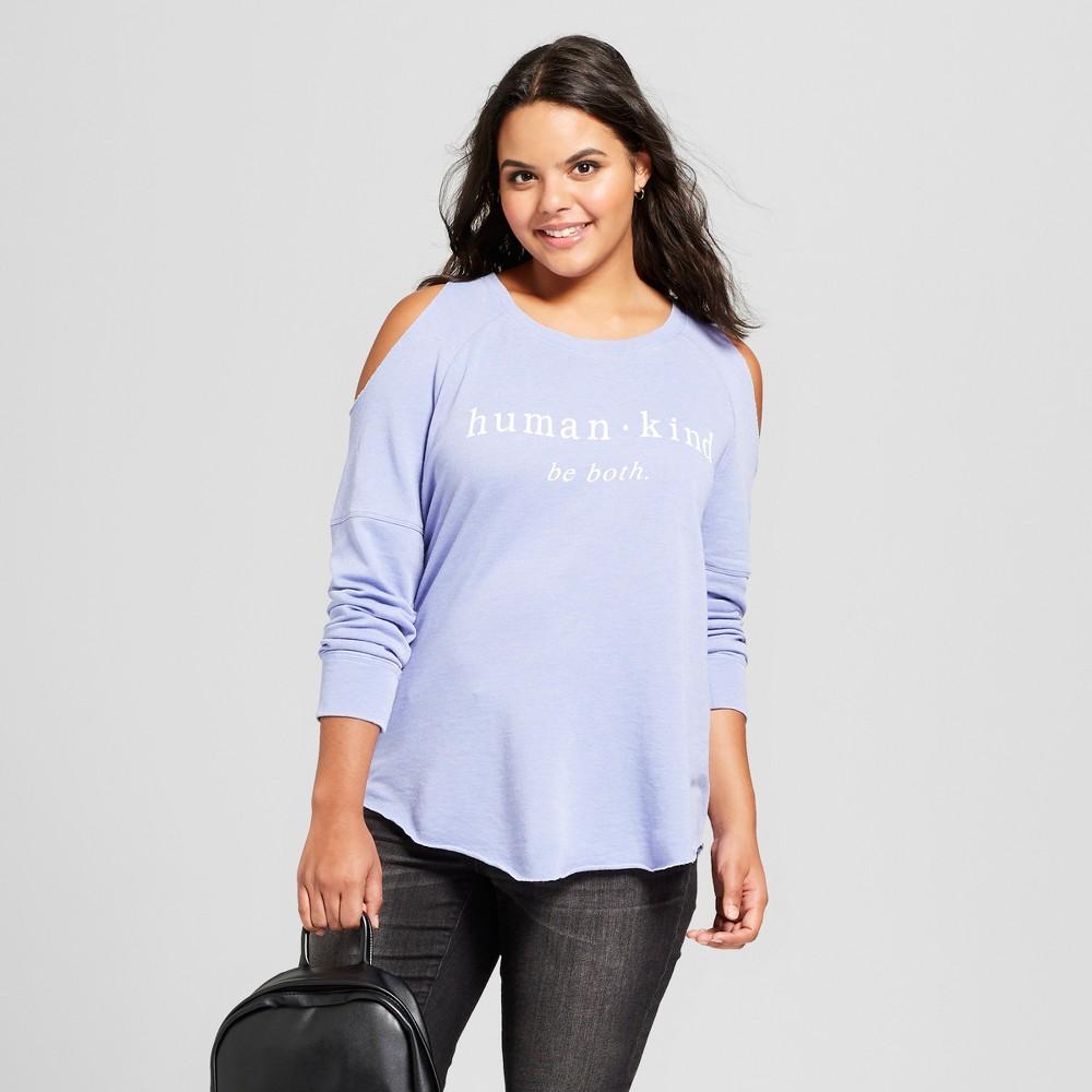 Women's Plus Size Human Kind Cold Shoulder Pullover Burnout Sweatshirt - Grayson Threads (Juniors') - Blue 2X