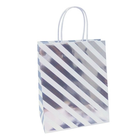 Silver Stripe Gift Bag - Spritz™ - image 1 of 1