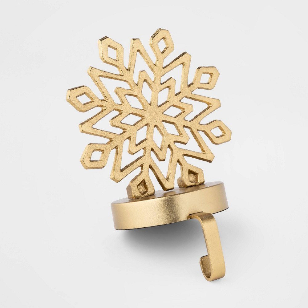 "Image of ""8.5"""" x 6"""" Metal Snowflake Stocking Holder Gold - Threshold"""