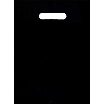 Okuna Outpost 100-Pack Plastic Shopping Bags for Merchandise with Handle (Black, 9 x 12 in)