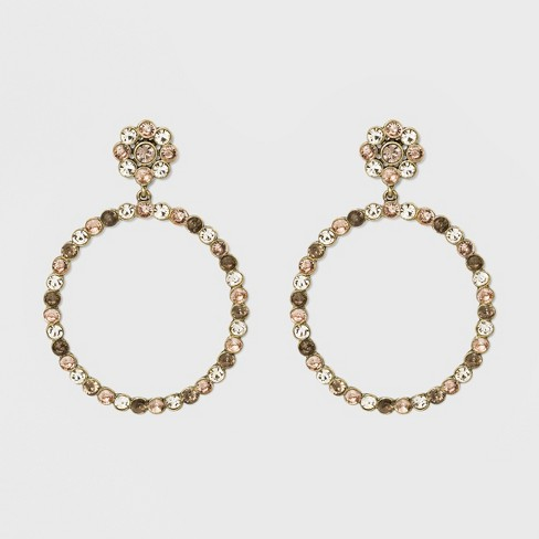 Hoop Earrings With Crystals Crystal Hoop Earrings Style