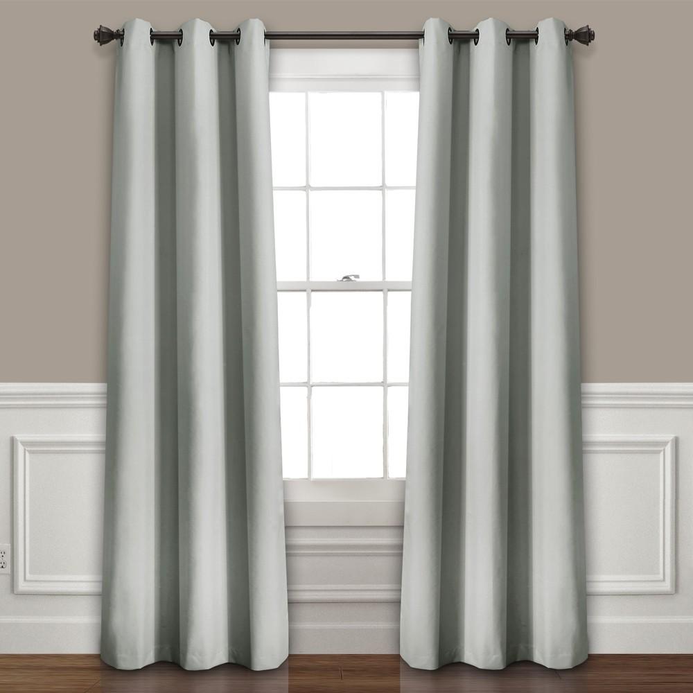 Set of 2 (84x38) Absolute Blackout Window Curtain Panels Light Gray - Lush Décor Discounts