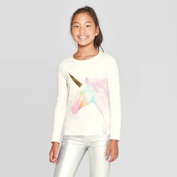 Girls' Long Sleeve Flip Sequin Unicorn T-Shirt - Cat & Jack™ Cream
