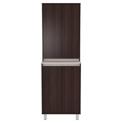 4 Door Breakroom Cabinet Espresso/Amber Gray - Inval