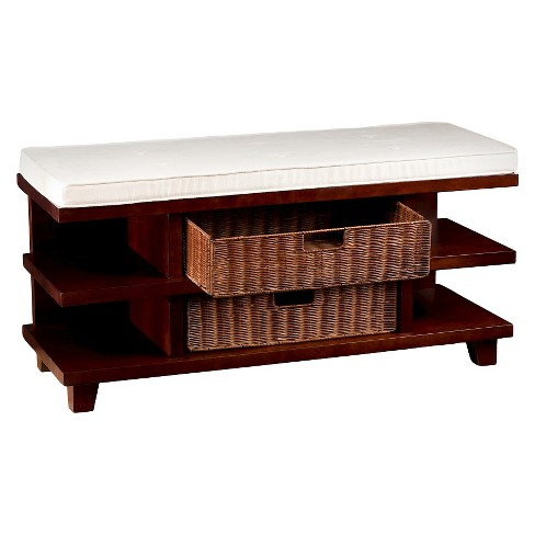 Winston Entry Bench with Storage - Espresso with caramel and ivory - Aiden Lane - image 1 of 8
