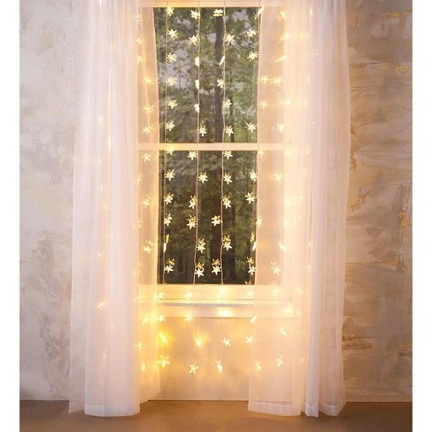 Electric Star Curtain Lights On Clear Wire, 128 Lights - Plow & Hearth - image 1 of 1
