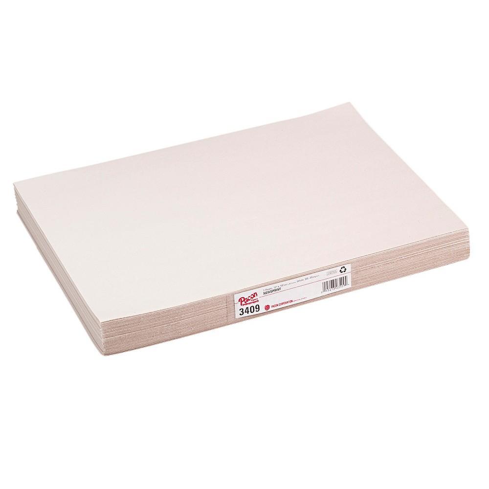 Pacon White Newsprint, 30 lbs., 12 x 18 - White (500 Sheets Per Pack)
